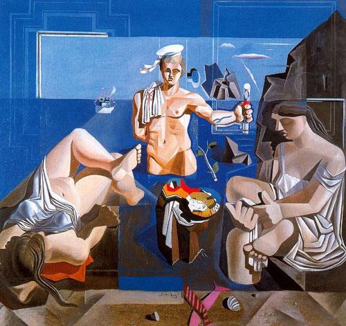 """Dalí, composición con tres figuras""""Academia neocubista"""", 1926"""