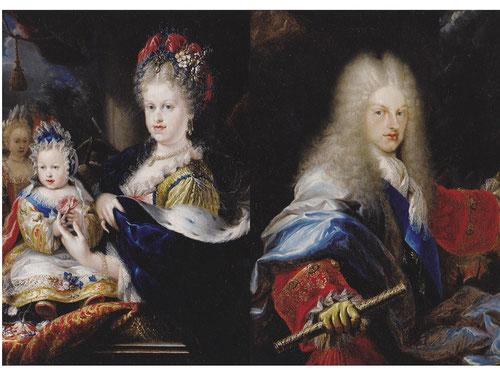 Miguel Jacinto Meléndez. Retrato de Felipe V,1709 y Retrato de Mª Luisa Gabriela de Saboya 1709.Primer soberano de la dinastía de los Borbones en España.Es el futuro Luis I(1707-1724) el que aparece con su madre.El estilo rococó esta lejos de la sobriedad