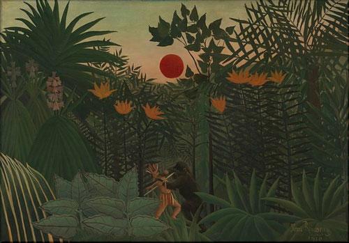 Henri Rousseau, Paisaje tropical con un gorila atacando a un indio,Virginia Museum, Richmond. 1910 Es la contemplación de la naturaleza a través de un sueño, primitivismo radical, fantasía inquietante pues el autor jamás abandonó la vida urbana.
