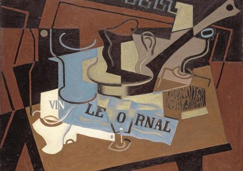 JUAN GRIS (1887-1927).El cazo, octubre 1919.Óleo sobre lienzo 65x81cm.Alterna frios y cálidos en este bodegón de equilibrio compositivo con filosofía plástica personal y estilo propio.
