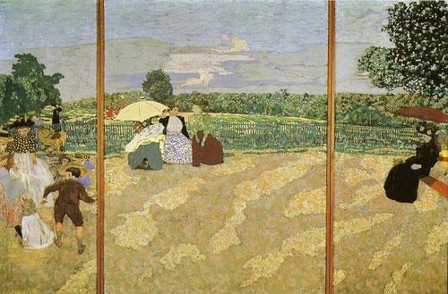Édouard Vuillard,Jardins Publics1894.214cmX81X156cm.Moderna sensibilidad cotidiana concentrado en temas bucólicos.Paneles decorativos al modo de proyección de un ciclorama con secuencias  de cualquier parque parisino,que encierran el misterio de la vida.