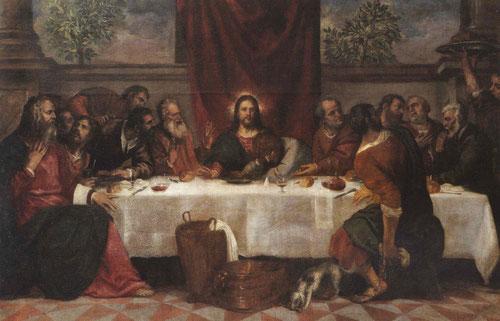 La última cena, Tiziano y taller.Óleo sobre lienzo,167x225cm.La ejecución evidencia diferentes grados de acabado y calidad pictóricas. Existen diferentes versiones.