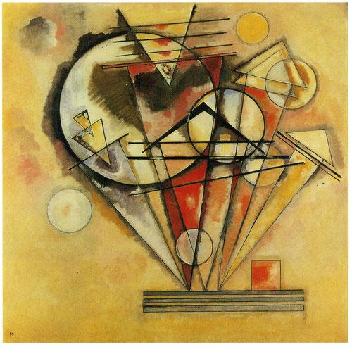 Sobre puntas 1928.Óleo sobre lienzo,140x140cm.Donación de N.Kandinsky. Punto y línea con referencia al plano,cada vez con mas frecuencia aparecen elementos geométricos en primer plano de la obra.Cálidas tonalidades marrones.