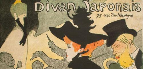 Toulouse Lautrec.Divan Japonais 1893.Litografia en color.81x62cm.Musée d´Ixelles, Bruselas. Curiosidad insaciable por los excesos de la noche parisina se reflejó en sus obras, escenas, personajes, cabarets...