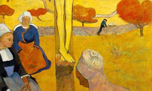 Refinamiento exquisito el de estas mujeres bretonas en actitud reverente, ensimismadas...hermosa armonía donde todo es íntimo y silencioso.Gauguin se reencuentra con un sentido de belleza intemporal que se conjuga con un ideal de verdad.