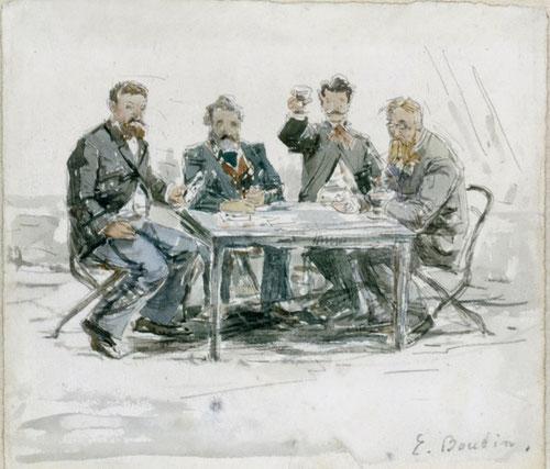 Eugène Boudin.En la Granja Saint-Simeon: Jongkind,Van Marcke Monet y el Padre Achard hacia 1862.Acuarela y lápiz sobre papel 17x19cm. Galeria Schmit,Paris.La familia Boudin,humilde se traslada a El Havre,al otro lado del Sena,alli se asociaron.