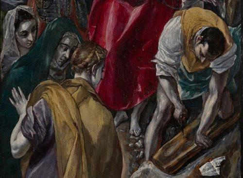 Motivo de conflicto con el cabildo, fue la presencia de las tres Marías quienes miran con melancolía al hombre, que en atrevido escorza prepara el madero de la cruz. La Virgen,Mª de Cleofás y Mª Magdalena no aparecen en los evangelios canónicos.