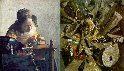 Dalí, apasionado de Vermeer, hace este estudio paranoico-crítico de la encajera de Vermeer.