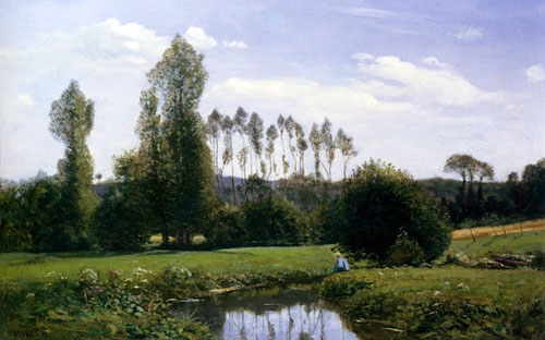 Claude Monet. Vista de los alrrededores de Rouelles 1858.Óleo sobre lienzo 46x65cm.Marunuma Art Park,Asaka.