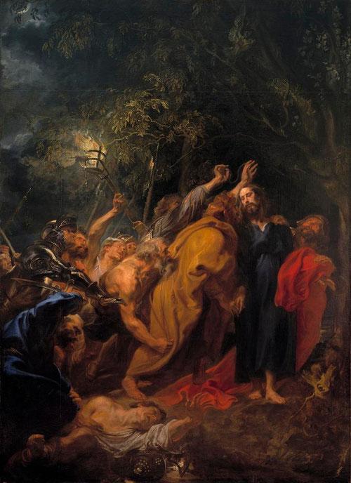 Van Dyck.El prendimiento.Museo del <prado, Madrid. Judas descubre el paradero de Jesús y sale a buscarle(Mt26,47-52/Mc14/Lc22)Judas besa a Cristo para identificarle ante los soldados.La agresiva muchedumbre se opone a la serenidad de Jesus.