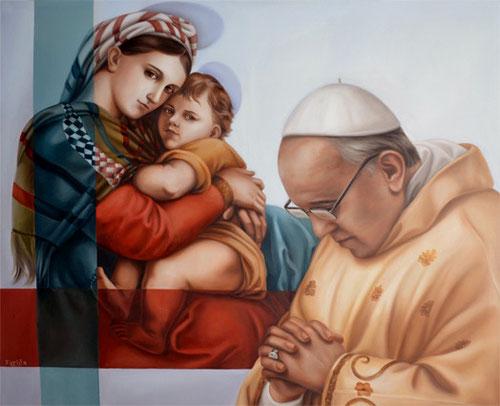 Mercedes Fariña. Papa Francisco delante de la Virgen de la Silla de Rafael.