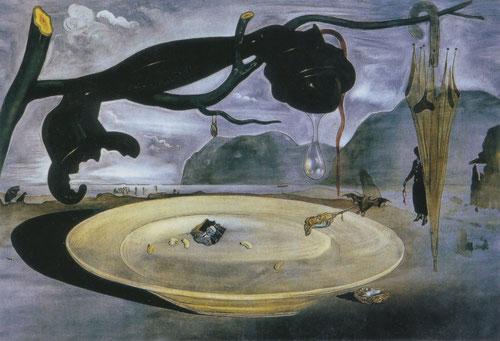 Dalí, El enigma de Hitler,1939.Teléfono de baquelita colgado de una rama de olivo muerta, con un cable cortado y una lágrima que escapa a un plato servido con retrato de Hitler...Europa atormentada por dramas ideológicos...al fondo Porlligat