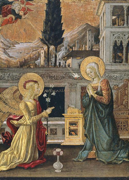 """La Anunciación.Benedetto Bonfigli, Perugia (1420-1496). Temple y oro sobre tabla. Entre la Virgen y San Gabriel """"AVE MARÍA GRATIA PLENA"""". Museo Thyssen."""