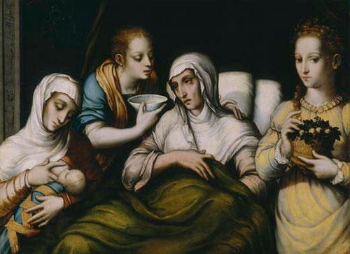 El nacimiento de la Virgen.Óleo sobre tabla de nogal,69x93cm.Museo del Prado.Probablemente formara parte de un retablo,único repertorio de exquisita belleza y composición.Sencillez y sobriedad de la escena doméstica.