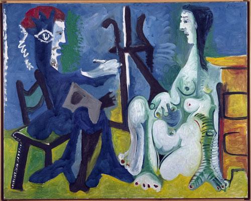 El pintor y la modelo, Mougins.1963.Óleo sobre lienzo.130x162cm.Museo Nacional Centro de Arte Reina Sofía.Madrid,España.