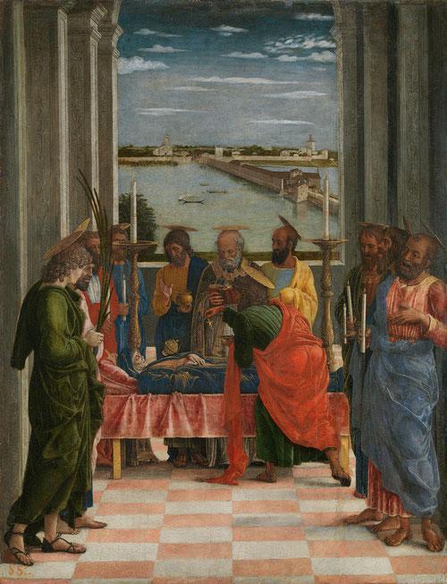 El Tránsito de la Virgen.Andrea Mantegna,1462.Temple sobre tabla.54x42cm.Obra realizada para Ludovico Gonzaga,2ºmarqués de Mantua.Destaca su conocimiento de arte clásico y de las figuras en el espacio.Muestra un episodio de los evangelios apócrifos.