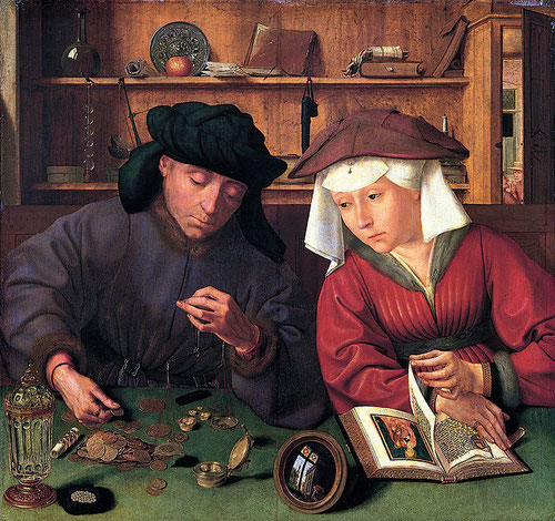 """Quentin Matsys """"El cambista y su mujer""""1514. Óleo sobre tabla.71cmx68cm. Museo del Louvre.Matsys desarrolla el estilo de los primitivos flamencos y trabaja de modo exclusivo para la pujante burguesia comercial del momento, prolija en objetos preciosos."""