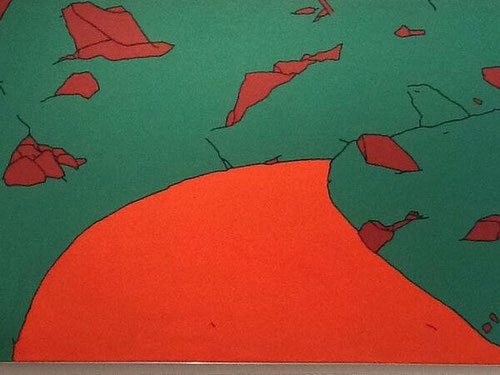 Patrick Caufield,Curva en el camino 1967.Óleo sobre lienzo,121x215cm.Luxemburgo...A medio camino entre lo irreal y el espacio bidimensional...Recuerda a Cézanne?