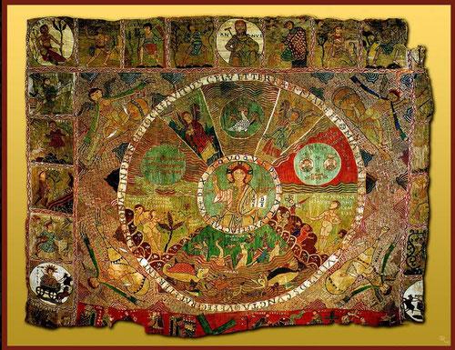 Tapiz de la Creación.Obra anónima del SXI.Museo catedrtalíceo de Gerona.En la Edad Media Dios fue considerado un sabio arquitecto de un universo centrado por la esférica tierra, siempre respetando en el Románico la perfección de lo circular.