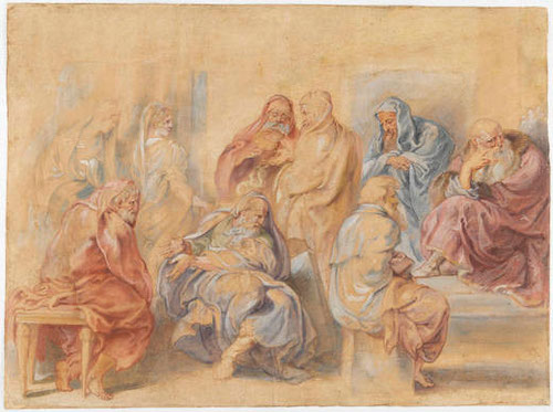 Rubens,Los siete sabios de Grecia, 1625.Pluma aguada de pigmentos opacos sobre papel verjurado