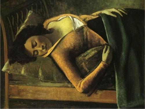 Balthus. Muchacha dormida 1943.Óleo sobre tabla.79x98cm.Tate, Londres