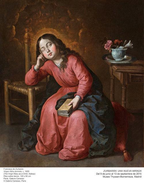 La Virgen Niña dormida,1655.Paris,Galerie Canesso.100x90cm.La mística Sor Mª Jesús de Ágreda(1602-55)tuvo visiones de la infancia de la Virgen según las cuales la virgen oraba dormida y el Altísimo la inundaba de luz celestial,puro arrebato de amor divino