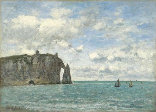Eugène Boudin.Étretat.El acantilado de Aval 1890.Óleo sobre lienzo.79x109cm.Colección Thyssen.Diferentes retrospectivas de la costa de Étretat,nuevos puntos de vista.