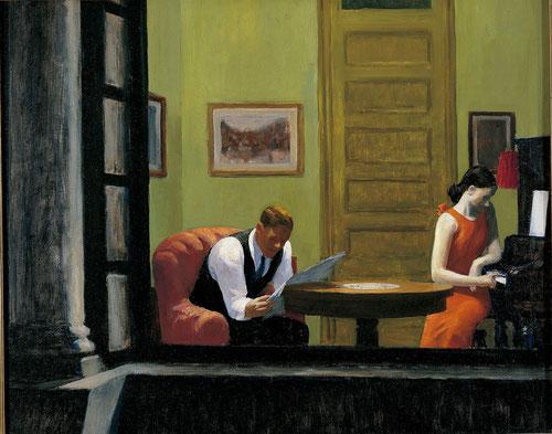 Edward Hopper.Habitación en Nueva York,1932.Óleo sobre lienzo.74x93cm.Sheldon Museum of Art, University of Nebraska-Lincoln.F.M. Hall Collection...Junto con la luz, el más poderoso medio expresivo, composiciones sobrias y severas..y la soledad..