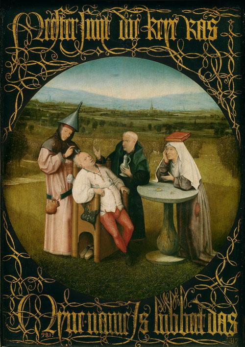 El Bosco,La extracción de la piedra de la locura,hacia 1500-1510.Óleo sobre tabla.48x34cm Era un cuadro de gabinete, muestra como la locura no es solo patrimonio de los dioses, sino miseria de los humanos.A la derecha la mujer simboliza la ciencia.