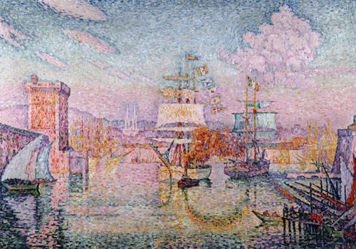 Paul Signac. La entrada al Puerto de Marsella 1911.Óleo sobre lienzo 116x162cm. Musée dÓrsay. Descubre tambien la visón hedonista del Mediterráneo.