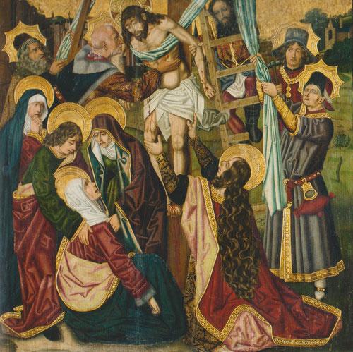 El Descendimiento.1477-83.Óleo sobre tabla 134x132cm.Museo de Zaragoza. José de Arimatea sujeta a Cristo por el vientre mientras Nicodemo subido en la escalera lo sujeta del brazo.Magdalena se dispone a agarralo por las rodillas,las Marías con Virgen