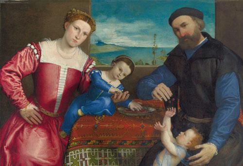 Giovanni dalla Volta con su esposa e hija.1547.Óleo 104x138cm.Londres National Gallery.Cabe pensar que el cuadro fue una forma de abonar el alquiler de la estancia anual,20 ducados al año pagados en dos plazos.Singular alfombra de anatolia.