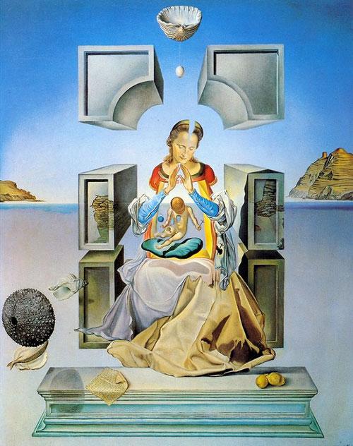 Primera versión de la Madona de Port Lligat,Salvador Dalí.Pintor español.Oleo sobre lienzo, 1949. Marquette University,Milwaukee, Wisconsin, Estados Unidos. Si buscas al hombre-Dios, siempre lo encuentras en María, Ella transparenta toda la vida de Jesús