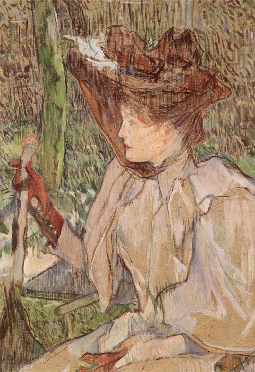 Henri Tolouse Lautrec.La Femme aux gants 1890.54x40cm.Refinado juego de colores,fijando la mirada en la actitud central y su caracter de inexpresiva mirada.Todo un código cultural de la persona retratada.