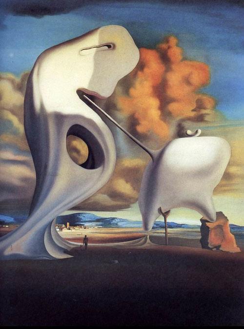 Dalí,Ángelus arquitectónico de Millet,1933. Todo un delirio geológico en Port Lligat, asociación de piedras y minerales perforadas por la erosión bajo una luz azulada crepuscular,rinde homenaje a Gaudí y a su gótico catalán.Se interpretar como padre-hijo