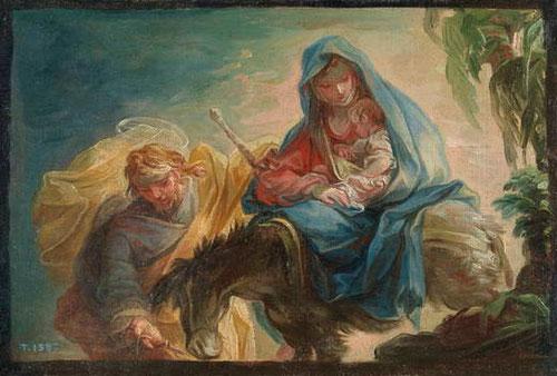 Vicente Lopez Portaña.La huida a Egipto.1795.Legado Pablo Bosch.14x21cm.Boceto preparatorio para el cuadro de la Catedral de Valencia