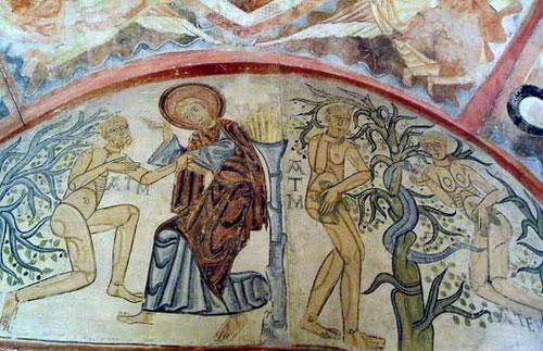 Pecado original Adán y Eva. Santa Cruz de Maderuelo. Museo del Prado