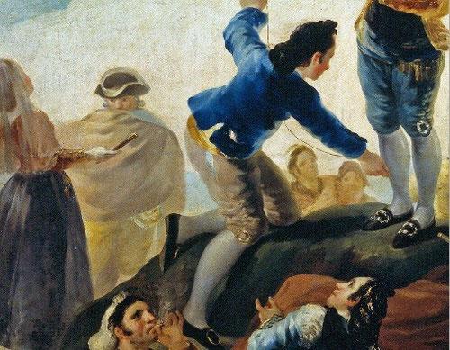 Detalle de La Cometa1778.Museo del Prado.Como parte del conjunto de cartones para el comedor de los Principes de Asturias en el Palacio del Pardo.Figuraba entre los juegos infantiles de la pintura holandesa del XVII,considerado expresión de vanidad.