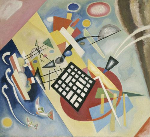 Trama Negra,1922 óleo sobre lienzo legado de N.Kandinsky evoluciona hacia unas coordenadas más geométricas.Triángulos y círculos predominan,rectas firmes.Escena tridimensional,cortina a la dcha,planos se compenetran y  trama que remite al tablero  ajedrez