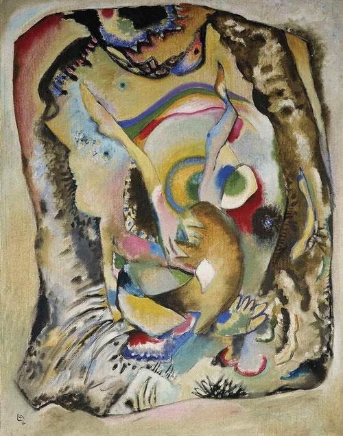 Pintura sobre fondo claro,1916.Óleo sobre lienzo.100x78cm.Donación de Nina Kandinsky.Pintada durante su estancia en Estocolmo,es obra experimental de pinceladas simples dinámica improvisada e inestable,ya no hay distinción entre arriba y abajo,blanco,rojo