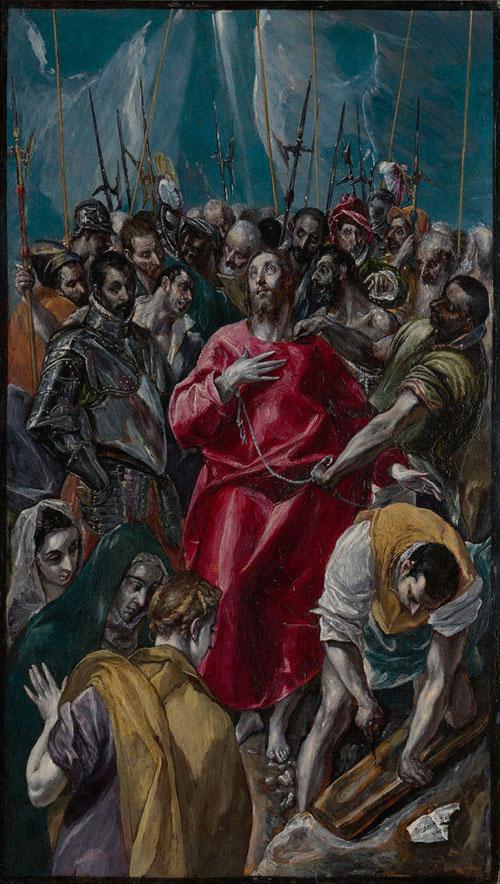 El Expolio de Cristo del Greco. Colección Masaveu.1577-79.Óleo sobre tabla 56x32cm.Probable que utilizara como modelli para el cuadro de la Catedral de Toledo, en el que representa los minutos previos en los que le arrebataron sus vestiduras.