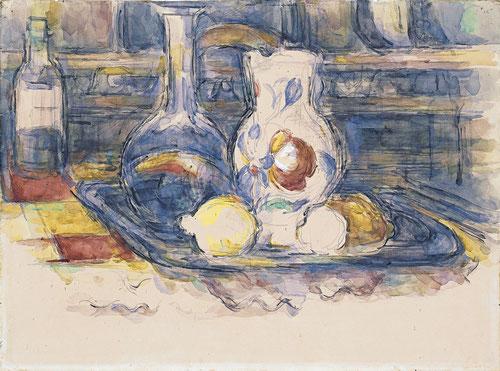 Acuarela de botella, garrafa, jarro y limones,1902. Parece descubrir las entrañas mismas de la naturaleza muerta, mayor simpleza, magistral resultado.
