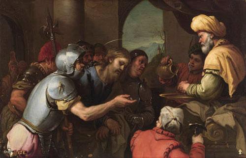 Luca Giordano.Pilatos lavándose las manos.1655-60.Óleo sobre cobre.43x66cm.Colección Real.