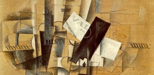 """Detalle de Georges Braque.Guéridon,velador 1913.Junto con J.Gris y Picasso, creador del cubismo.Composiciones ligeras con pocos tonos cromáticos,""""cubismo analítico"""".Heredero de la tradición clésica y precursor de la abstracción de postguerra."""
