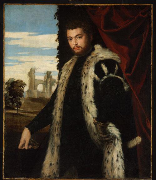 Paolo Veronés.Retrato de un hombre 1555.Óleo sobre lienzo.120x102cm.Budapest Museum.La intensidad de su mirada,cinaje rojo a la derecha,la elegancia del gesto y la piel de lince que luce tal vez perteneció a una familia noble véneta.