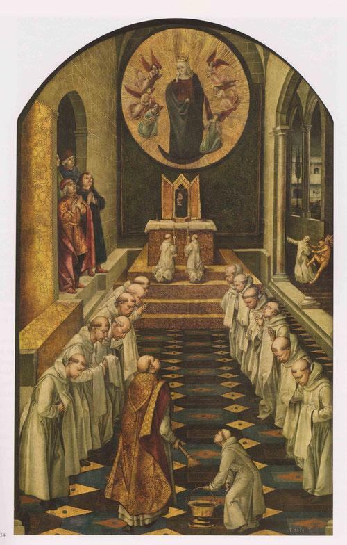 Los frailes cantan la Sal ve Regina en el oficio de completas,con su séquito celestial, la Virgen hacía una breve aparición para bendecir a los frailes dominicos.Mientras se rezaba la antífona se esparcia agua bendita.