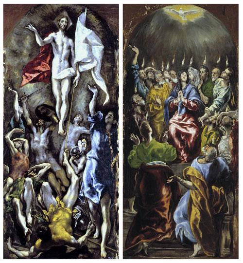 A la derecha Pentecostés del Greco,1600,Óleo sobre lienzo 275x127cm en el Museo Nacional del Prado.A la izquierda la Resurrección de Cristo,1597,275x127cm,tambien en el Museo Nacional del Prado.