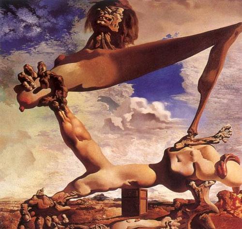 Dalí,Construcción blanda con judías hervidas (Premonición de la guerra civil) 1936 Homenaje a Goya en Saturno devorando a su hijo...La muerte atormenta a Dalí..es una constante en su obra..