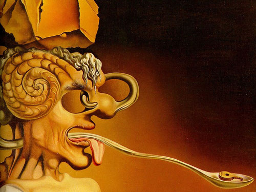 """Dalí,Retrato de Picasso 1947.Mezcla de irreverencia y admiración,monstruo espantoso con lengua viperina, expresión de materialismo y símbolo agnóstico """"belleza comestible"""", copiando a Giotto"""