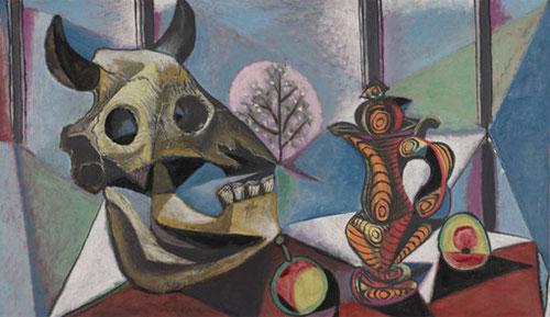 Cráneo de toro,frutas y jarrón,Paris 1939.Óleo sobre lienzo,65x92cm.The Cleveland Museum of Art.